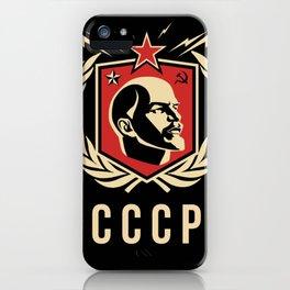 Emblem Lenin Face & CCCP Black iPhone Case