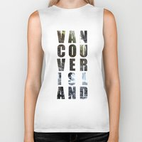 vancouver Biker Tanks featuring VANCOUVER ISLAND by Amie Enns