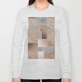 Copper and Blush Rose Gold Marble Quadrangle Geometrical Shapes Long Sleeve T-shirt