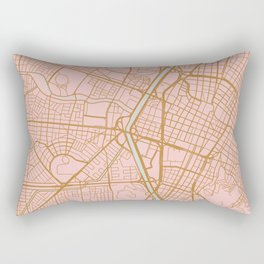 Pink and gold Medellin map, Colombia Rectangular Pillow
