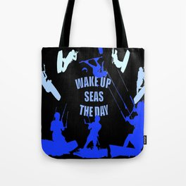 Wake Up Seas The Day Kiteboarder Royal Blue Tote Bag