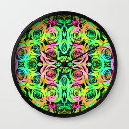 Abstract Roses - Green Wall Clock