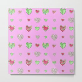 For the love of Watermelon - pink background Metal Print