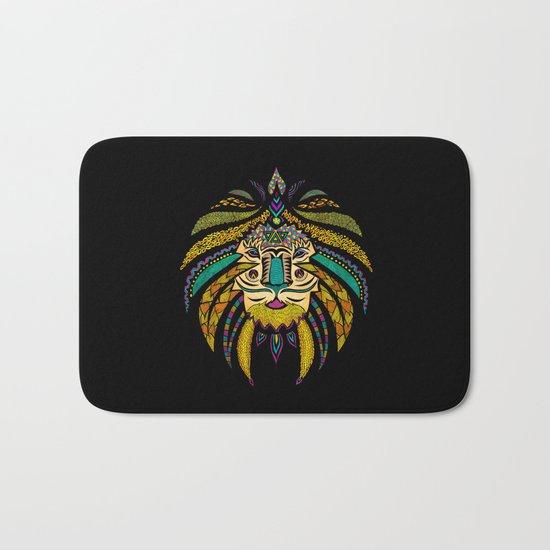 Tribal Lion on Black Bath Mat