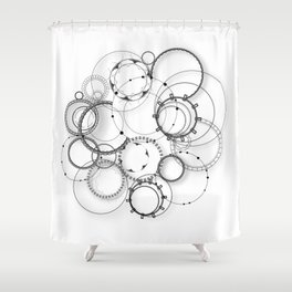 Abstract steampunk pattern geometric circle in black and white Shower Curtain