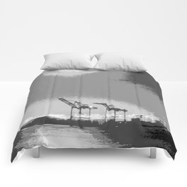 """""""Harbor Cranes 5"""" by Murray Bolesta! Comforters"""