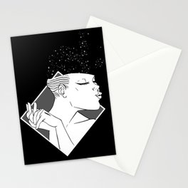 Losing Her Mind Simple Woman Smiling In Monochrome With Clasped Hands Cartoon Style Stationery Cards
