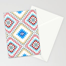 Colorful patchwork mosaic oriental kilim rug with traditional folk geometric ornament Stationery Cards