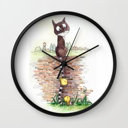 Cat with a long tail Wall Clock