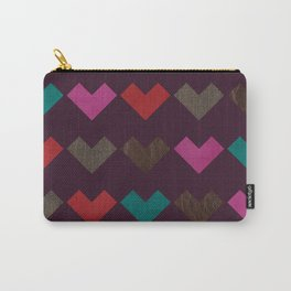 leather geometric love on dark purple Carry-All Pouch