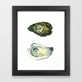 Watercolor Atlantic Oysters #1 by Artume Framed Art Print