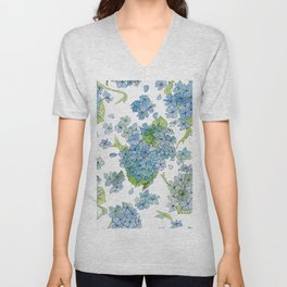 Blue Hydrangea Watercolor Unisex V-Neck
