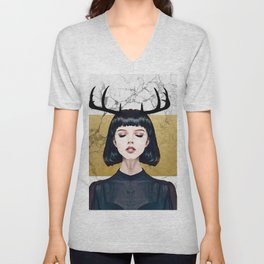 Gold Marble and Antlers Unisex V-Neck