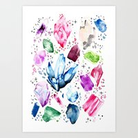 crystals Art Prints featuring Crystals by Monogamy Art