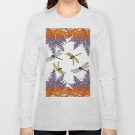 DRAGONFLIES & PURPLE-BROWN WOODLAND FERNS  ABSTRACT Long Sleeve T-shirt