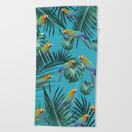Parrots in the Tropical Jungle #2 #tropical #decor #art #society6 Beach Towel