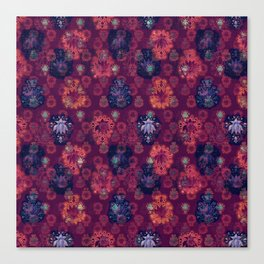 Lotus flower - fire on mulberry woodblock print style pattern Canvas Print