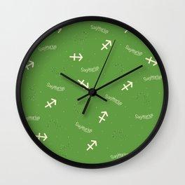 Sagittarius Pattern - Green Wall Clock