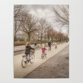 Winter Scene People at Park, Lucca, Italy Poster