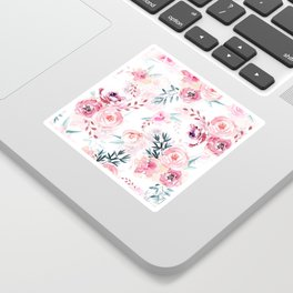 Pink Watercolor Florals I Sticker