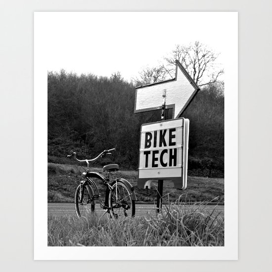 Bike tech over there Art Print