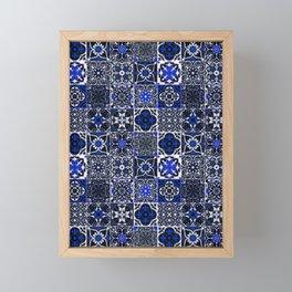 N26 - Blue Wonderful Traditional Moroccan Vintage Tiles Artwork Framed Mini Art Print