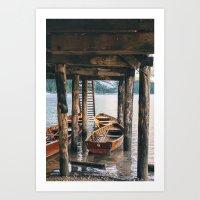 Boats at Lago di Braies Art Print