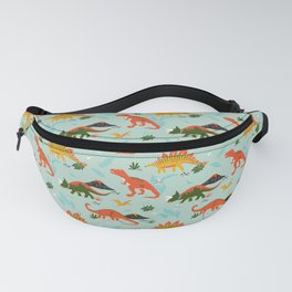 Jurassic Dinosaurs in Blue + Red Fanny Pack