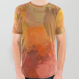 Modern contemporary Yellow Orange Abstract All Over Graphic Tee