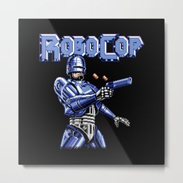 Robocop Glitch Art Metal Print