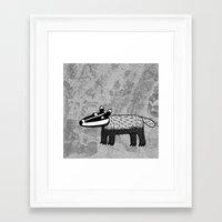 badger Framed Art Prints featuring Badger by Nic Squirrell