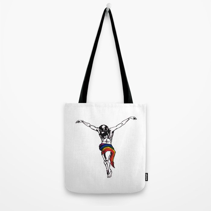 Christ Wearing Rainbow LGBTQ Loincloth Isolated Tote Bag