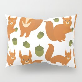 Seamless pattern Set of funny red squirrels with fluffy tail with acorn  on white background Pillow Sham