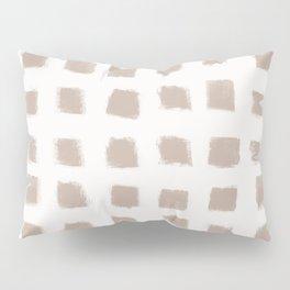 Polka Strokes - Nude on Off White Pillow Sham