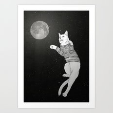 Cat trying to catch the Moon Art Print