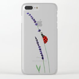 red ladybug and purple lavender Clear iPhone Case