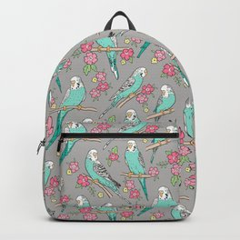 Budgie Birds With Blossom Flowers on Grey Backpack