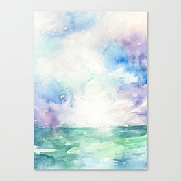 Colored Sky Watercolor Painting Canvas Print
