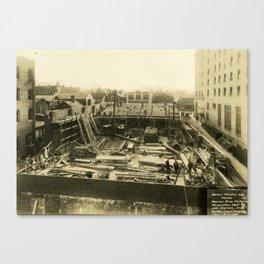 Construction of Warner Theatre Canvas Print