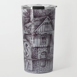 a boiler house in the forest with a stream. Travel Mug