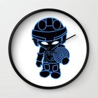 tron Wall Clocks featuring Mini Tron by thomasalbany