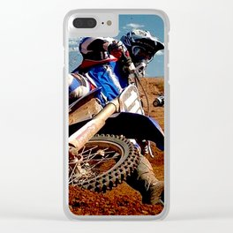 Motocross Dirt Track Motorcycle Racing Print Clear iPhone Case