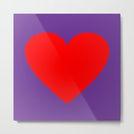 Red heart in purple Metal Print