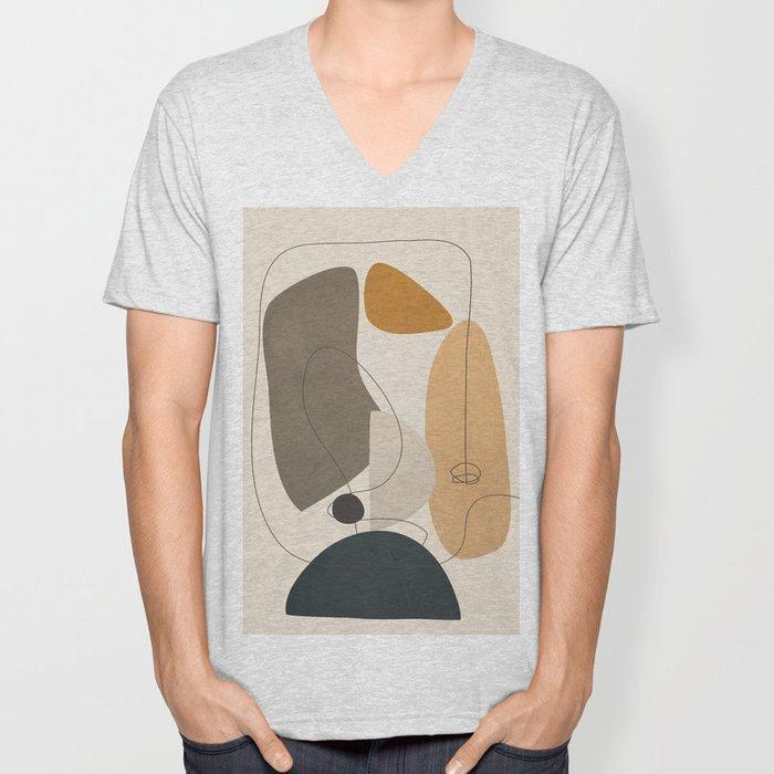 Abstract Minimal Shapes 26 Unisex V-Neck