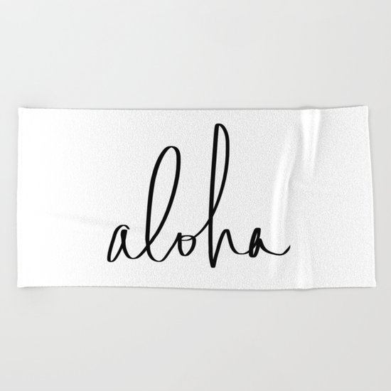Aloha Hawaii Typography Beach Towel