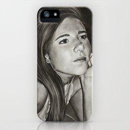 Introspective, charcoal self-portrait iPhone Case