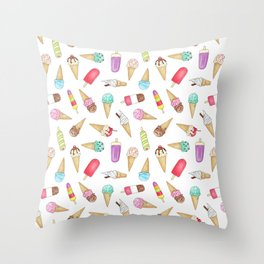 Scattered Ice Creams and Ice Lollies Throw Pillow