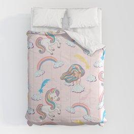 Rainbow unicorn & girl Comforters