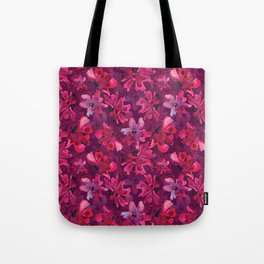 Pink flover pattern violet background Tote Bag