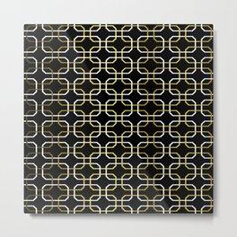 Black White and Gold Octagonal interlocking shapes Metal Print